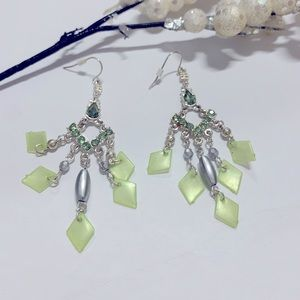 Silver & Green Stone Earrings